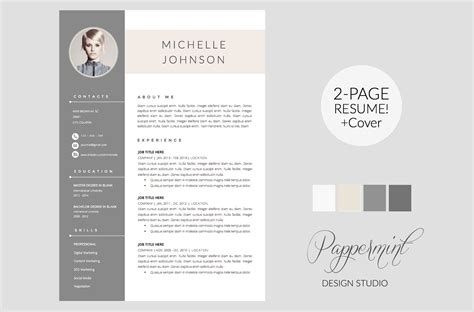 unique resume templates resume template cover letter word resume templates creative market