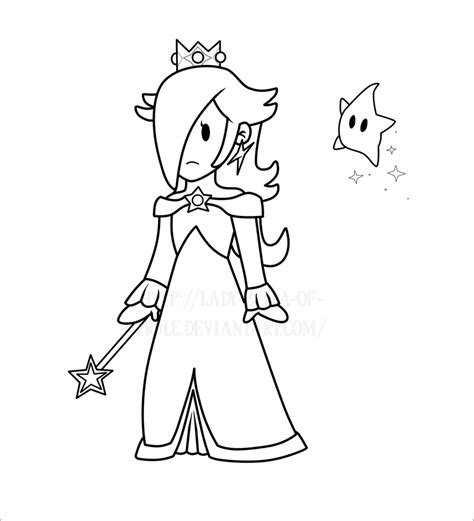 Paper Rosalina Lines By Lady Zelda Of Hyrule On Deviantart Paper Princess Coloring Pages