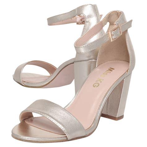 gold block heel sandals miss kg block heel sandals in gold lyst