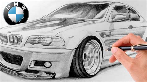 bmw car drawing how to draw realistic bmw m3 e46