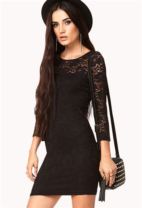Forever21 Lace Dress forever 21 floral lace bodycon dress in black lyst