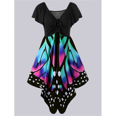 Plus Black Butterfly L plus size empire waist butterfly print dress in black and pink twinkledeals