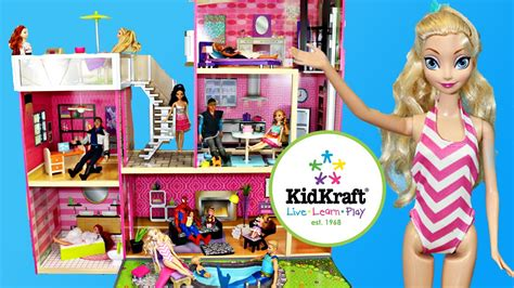 disney barbie doll house barbie dollhouse review of the kidkraft uptown wooden doll house youtube