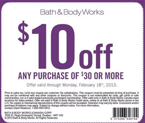 bed bath and body works coupons bath body works coupon 10 off your next purchase of