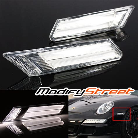 porsche 911 clear side marker lights for 05 12 porsche 911 997 987 boxster cayman clear led