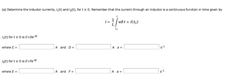 current voltage relation in inductor current voltage relation for inductor the circuit chegg