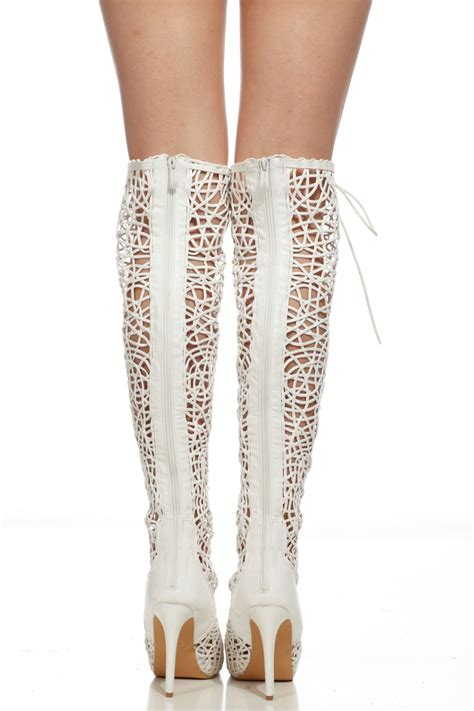 Yh Heels 2 white faux leather lace up open toe thigh high boots