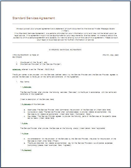 Free Printable It Service Agreement Template Form Generic Maintenance Contract Template Free