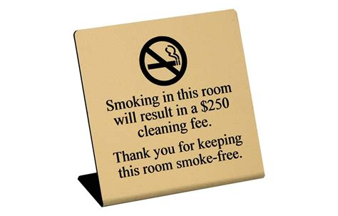 how to smoke in a non hotel room engraved no in room hotel guest room signs