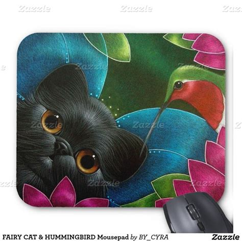 fairy cat hummingbird mousepad cats fairies and mousepad