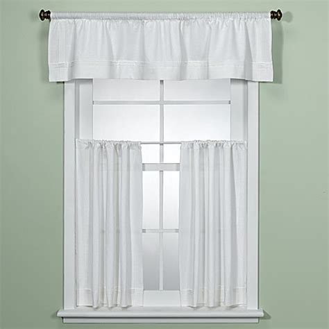 White Valance Curtains Maison White Kitchen Valance Bed Bath Beyond