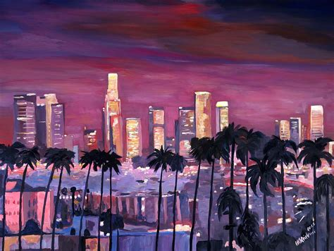 los angeles house painter los angeles with golden skyline painting by m bleichner