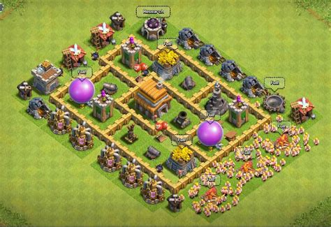 coc layout war base th5 clash of clans town hall level 5 defense th 5 war base