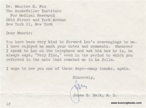 business letter typed signature typed letter signed from jonas salk to maurice fox