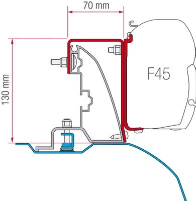 f45 awning fiamma f45 awning adapter kit ducato h2 roof rail