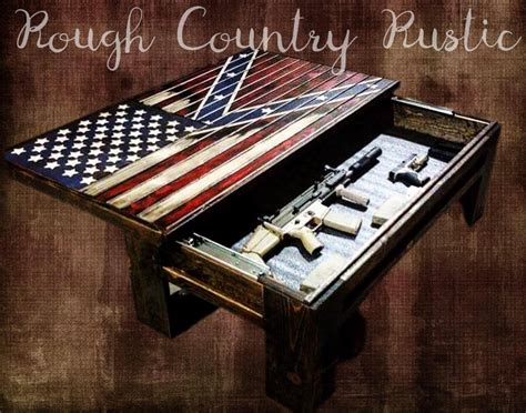 Deluxe Home Defense Coffee Table ( Charred American Flag