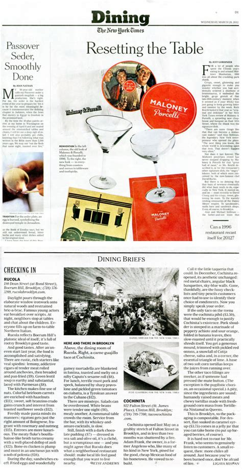 Ny Times Dining Section by Rucola Press
