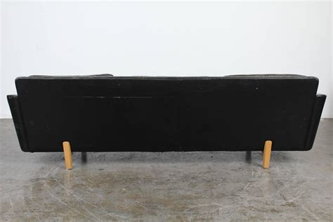 black leather mid century sofa mid century modern black leather sofa at 1stdibs