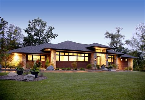 Single Story House Plans Without Garage by Prairie Style Home Contemporary Exterior Detroit