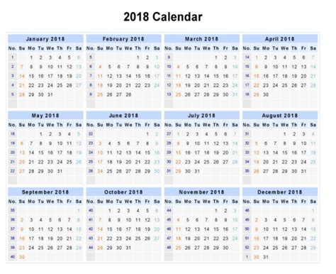 one page yearly calendar 2018 kays makehauk co