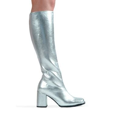 silver knee high boots go go boots for womens
