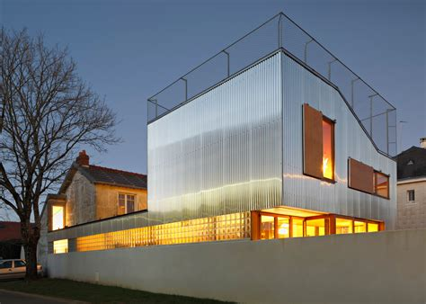 home architecture design cool french house with corrugated aluminium facade and