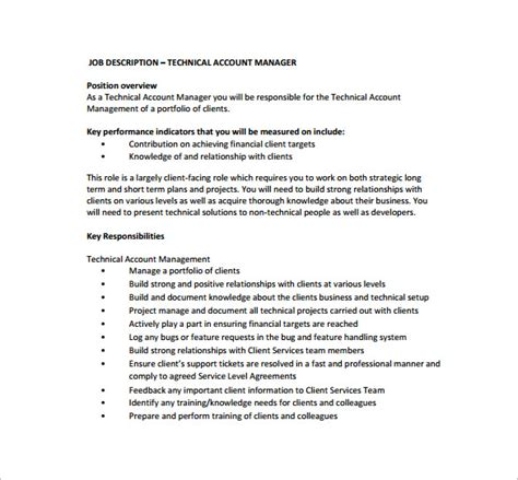 technical description template resume sle technical account manager resume ixiplay