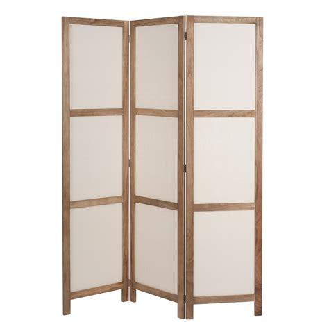 paravent en bois et tissu l 125 cm plaisance maisons du