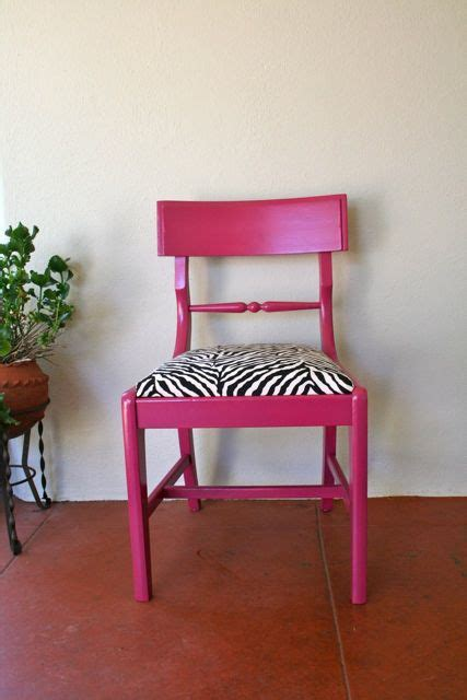 Pink chair with black white zebra painted furniture pinterest