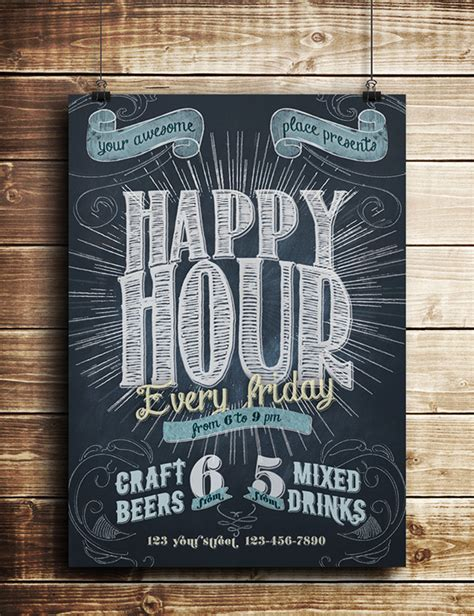 happy hour sign template happy hour chalkboard flyer on behance