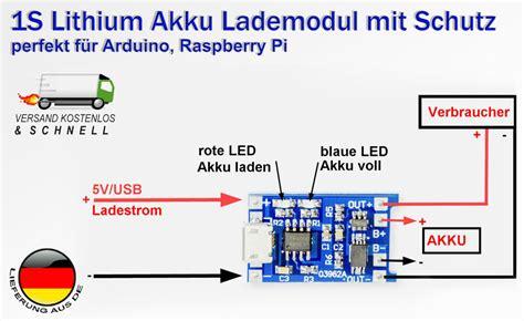 lade led lipo akku lademodul mit schutz tp4056 arduino solar