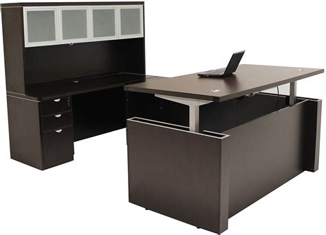 U Office Desk Adjustable Height U Shaped Executive Office Desk W Hutch In Mocha