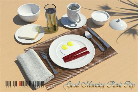 brunch setup food meal breakfast table set up revit models