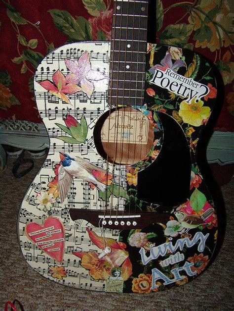 How To Decoupage A Guitar - decoupaged guitar sold by keeshagirl4 via flickr