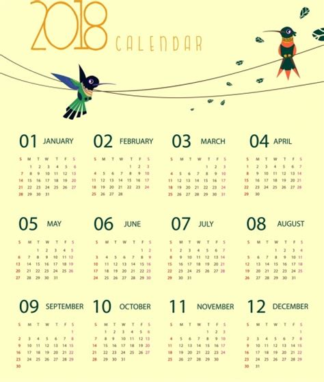 Calendar 2018 Illustrator 2018 Calendar Template Woodpecker Icons Decoration Free