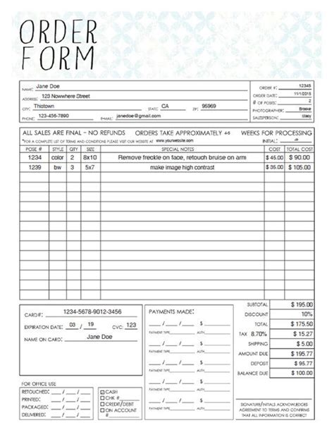 printable order form pered chef pdf general photography sales order form template