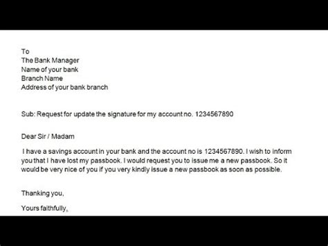 letter bank manager issue new passbook how to write an application to bank manager to issue a new