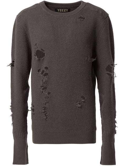 Distressed Sweater yeezy distressed knit sweater in gray for grey lyst