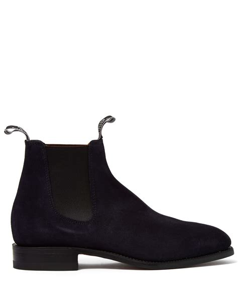 r m williams navy suede craftsman boots in blue for