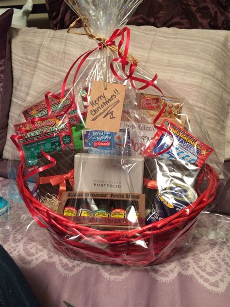what to put in a gift basket can finally put up the basket i made for my boyfriend for