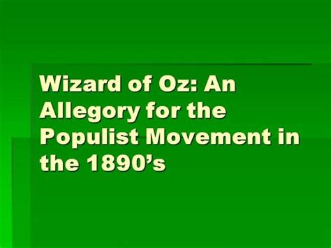 The Wizard Of Oz As Populism Authorstream Wizard Of Oz Powerpoint Template