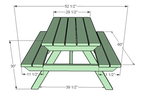 picnic bench dimensions ana white how to build an adult picnic table diy projects