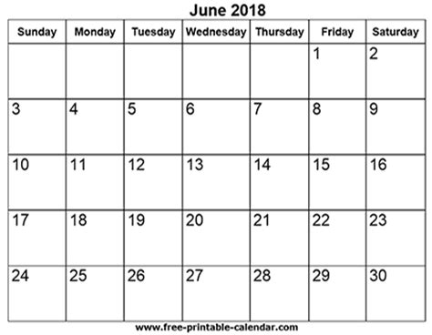 2018 Calendar June Free Printable Calendars For Free June 2018