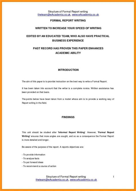 Short Report Format Ultramodern Concept For Formal Writing Exle Business Reports Exles Formal Report Template