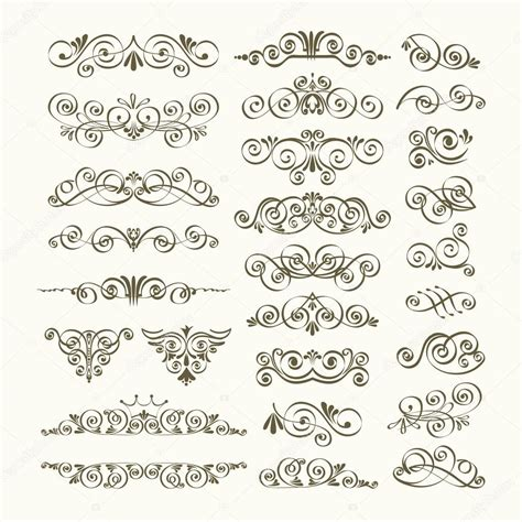 stock vector calligraphic design elements download vector set of calligraphic design elements stock vector