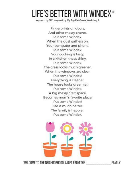 printable housewarming poem clean the house fast with windex 174 and get more family time