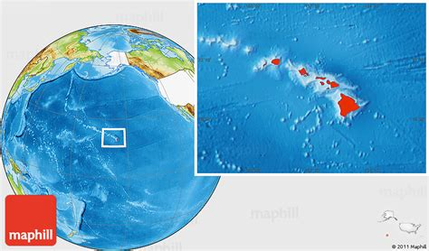 map world hawaii physical location map of hawaii highlighted country