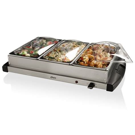 3 compartment electric covered side dish triple buffet