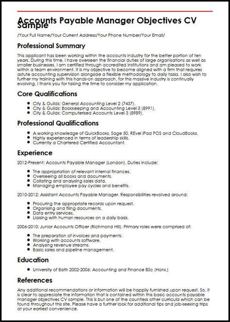 resume objective exles accounts payable cv exles cv sles myperfectcv