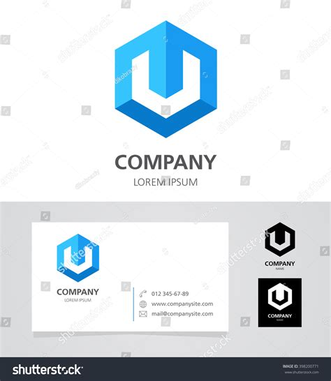 business card template us letter svg letters u v logo design element stock vector 398200771